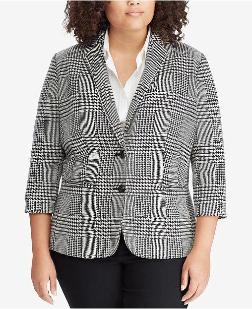 5a5331a3a2d Lauren Ralph Lauren Plus Size Glen Plaid Blazer   Reviews - Jackets ...