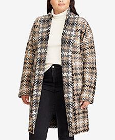 Lauren Ralph Lauren Plus Size Houndstooth Wool Cardigan