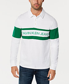 Calvin Klein Jeans Men's Colorblocked Logo-Print Rugby Polo