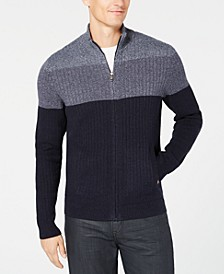 Men's Ombré Colorblocked Ribbed-Knit Full-Zip Cardigan, Created for Macy's