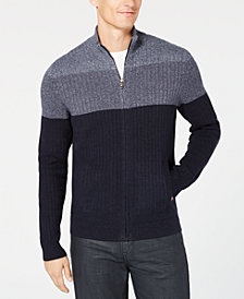 Alfani Men's Ombré Colorblocked Ribbed-Knit Full-Zip Cardigan, Created for Macy's
