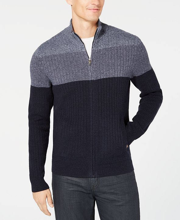 Alfani Men's Ombré Colorblocked Ribbed-Knit Full-Zip Sweater, Created for Macy's