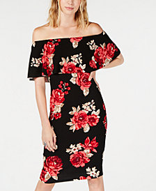 Almost Famous Juniors' Printed Ruffle Off-The-Shoulder Dress