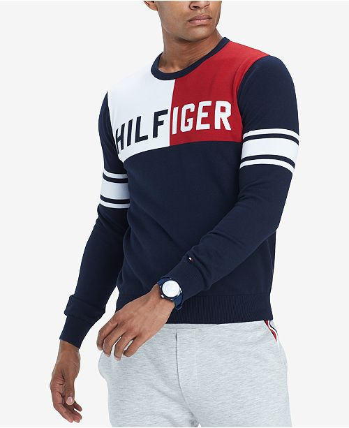 25ee1138 ... Tommy Hilfiger Men's Bedford Colorblocked Logo Sweater, Created for  Macy's ...