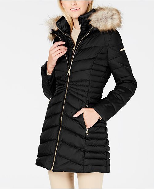 58c80d306a16 ... Laundry by Shelli Segal Faux-Fur-Trim Hooded Quilted-Panel Puffer Coat  ...