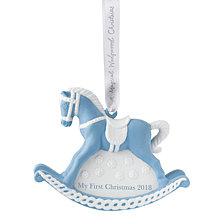 Wedgwood  2018 Babys 1st Rocking Horse Blue Ornament
