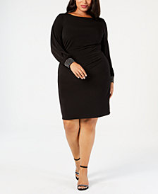 Jessica Howard Plus Size Embellished-Cuff Ruched Dress