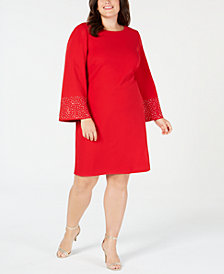 Jessica Howard Plus Size Studded Flare-Sleeve Shift Dress