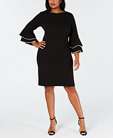 Calvin Klein Plus Size Imitation-Pearl Ruffle-Sleeve Dress
