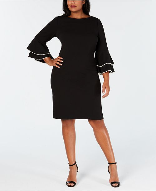 Calvin Klein Plus Size Imitation-Pearl Ruffle-Sleeve Dress ...