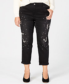 I.N.C. Plus Size Ripped Rhinestone-Embellished Jeans, Created for Macy's