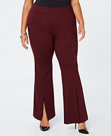 I.N.C. Plus Size Ponté-Knit Slit-Front Pants, Created for Macy's