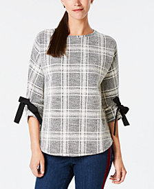 Charter Club Plaid Bow-Sleeve Top, Created for Macy's
