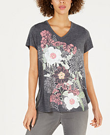 Style & Co Floral Graphic-Print T-Shirt, Created for Macy's