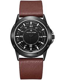 Men's'Norse' Quartz Metal and Genuine Leather Strap Watch