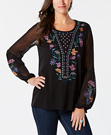 Style & Co Embroidered Blouse, Created for Macy's