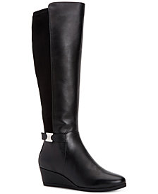 Giani Bernini Catrinaa Wedge Wide Calf Memory Foam Boots, Created For Macy's