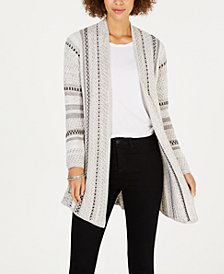Style & Co Jacquard-Stripe Open-Front Cardigan, Created for Macy's