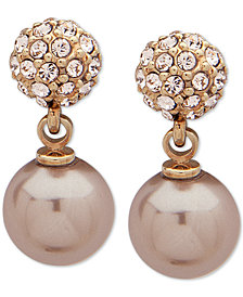 Givenchy Gold-Tone Pavé Fireball & Imitation Pearl Drop Earrings