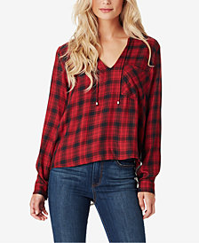 Jessica Simpson Juniors' Ida Mixed-Plaid Reverse Shirt