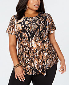 I.N.C. Plus Size Animal-Print Top, Created for Macy's