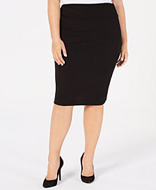 Soprano Trendy Plus Size Pull-On Pencil Skirt