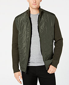 Alfani Men's Regular-Fit Colorblocked Mix-Media Cardigan with Faux-Fur Lining, Created for Macy's