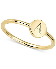 Sarah Chloe Engraved Initial Ring in 14k Gold-Plated Sterling Silver