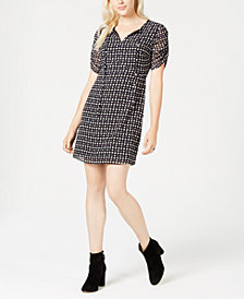 Maison Jules Printed Ruched-Sleeve Dress, Created for Macy's