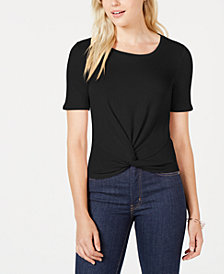 Maison Jules Short-Sleeve Twist-Front Top, Created for Macy's