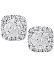 Diamond Halo Stud Earrings (1/2 to 1 ct. t.w.) in 14k White Gold