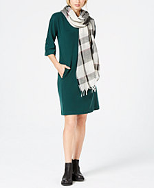 Eileen Fisher Boat-Neck Dress & Scarf