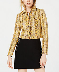 Bar III Snakeskin-Print Trucker Jacket, Created for Macy's