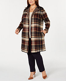 NY Collection Plus Size Plaid Open-Front Sweater Coat