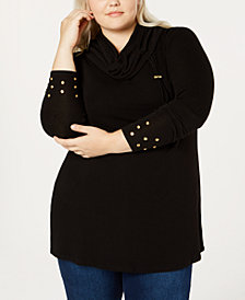 Belldini Plus Size Cowl-Neck Grommet Sweater