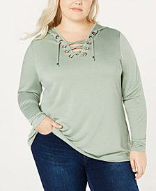 Belle by Belldini Plus Size Lace-Up Hooded Top