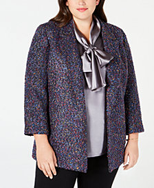 Nine West Plus Size Tweed Multicolor Flyaway Blazer