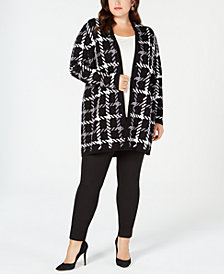 Kasper Plus Size Houndstooth Open-Front Topper