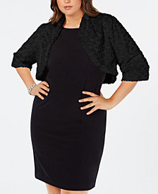 Robbie Bee Plus Size Faux-Fur Shrug