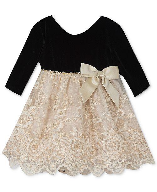 38e82e547f09 Rare Editions Baby Girls Lace Velvet Dress & Reviews - Dresses ...