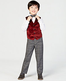 Nautica Toddler Boys 4-Pc. Holiday Red Velvet Vest Set