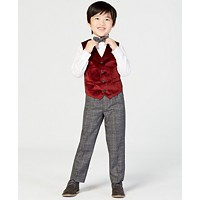Nautica Little Boys 4-Pc. Holiday Red Velvet Vest Set