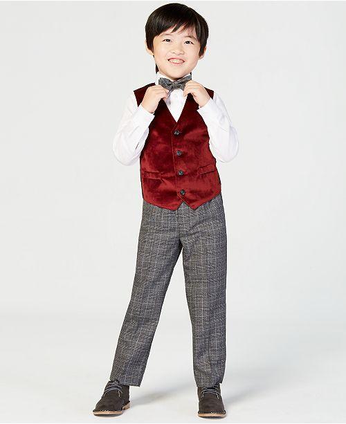 c81cc6a5e Nautica Toddler Boys 4-Pc. Holiday Red Velvet Vest Set   Reviews ...