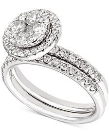 Diamond Halo Cluster Bridal Set (1-1/2 ct. t.w.) in 14k White Gold