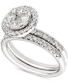 Diamond Halo Cluster Bridal Set (1-1/2 ct. t.w.) in 14k White Gold