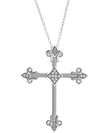 "Diamond Cross Pendant Necklace (1/10 ct. t.w.), 18"" + 2"" extender"