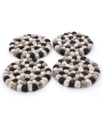 Felted Wool Pom Pom Coasters, Set of 4