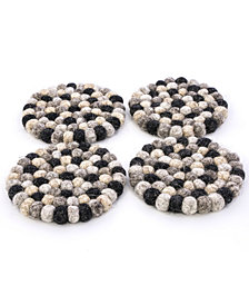 Thirstystone Felted Wool Pom Pom Coasters, Set of 4