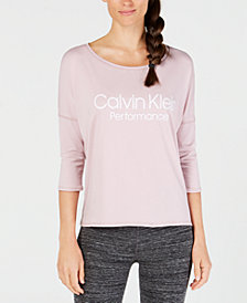 Calvin Klein Performance Logo Dolman-Sleeve Top