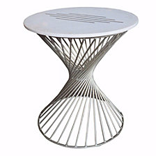 Beautiful Marble and Nickel Side Table, White and Gray
